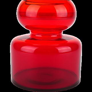Ruby red glassware, Ruby red glass vase, Bohemian glass vase, Bohemian vase, 1970s decor, Retro decor, Jan Gabrhel, Chlum u Trebone, Czech