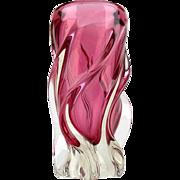 Twisted pink glass vase - Vintage Chribska glass vase by Josef Hospodka - Mid century Czech Bohemia glass pink vase