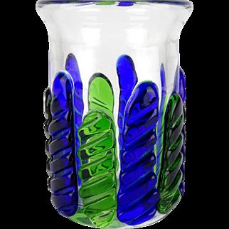 Vintage blue and green glass vase, Bohemian art glass, Czech art glass , Blue art glass, Green art glass, Retro, Pavel Jezek, Skrdlovice