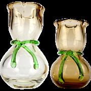 Vintage brown vases, Czech art glass, 1980s glass vases, Skrdlovice vases, Bohemian glass, Rene Roubicek, Miluse Roubickova, green scarf