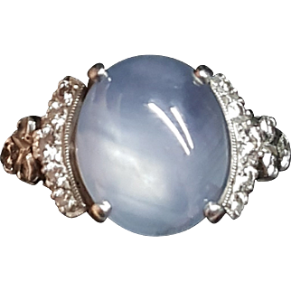 Incredible Early 1900s Antique Platinum Diamond Natural Star Sapphire Ring
