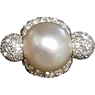 Incredible Antique Platinum 9.5mm Cultured Saltwater Pearl and Diamond Cocktail Ring