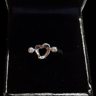 Sterling Silver Natural Diamond Tiffany & Co. Esla Peretti Open Heart Ring