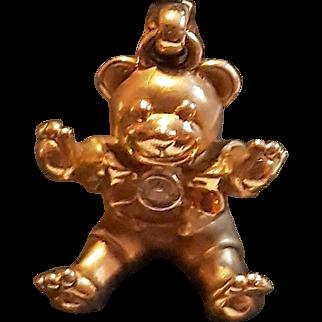 Adorable Vintage c1960 14k Yellow Gold Realistic Diamond Teddy Bear Charm Pendant 3D