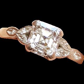 Incredible Antique c1910 Platinum 2.35 Ct Asscher Cut Diamond Engagement Ring