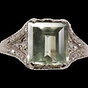 950 Platinum Green Beryl Diamond Ring