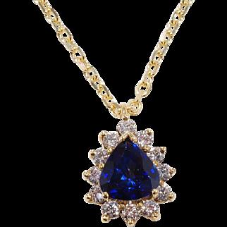 Tiffany Made Ceylon Sapphire Diamond Pendant