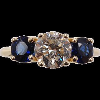 Tiffany and Company 3 Stone Sapphire/Diamond Ring