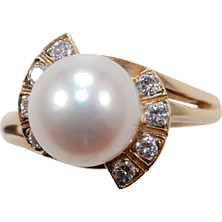 Mikimoto Cultured  Pearl Diamond Ring