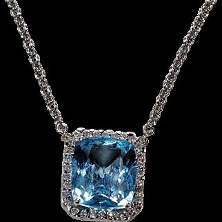 Cushion Blue Topaz Diamond  Halo Pendant