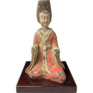 Terracotta Statuette of a Sitting Woman, China Six Dynasties