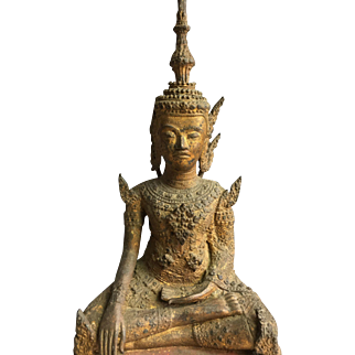 Antique Thai Rattanakosin Period Gilt Bronze Royal Buddha