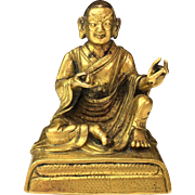 Antique Chinese Qing Dynasty Miniature Gilt Bronze Buddha
