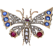 Antique Victorian Sapphire Ruby Pearl Diamond Butterfly Brooch