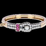Antique Victorian Ruby Pearl Diamond 18ct Gold Bangle Bracelet
