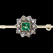 Antique Victorian Emerald Old Cut Diamond Flower Brooch
