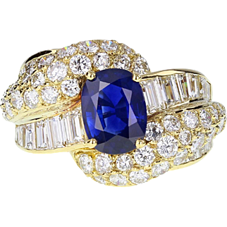 1940s French Sapphire Diamond Cocktail Cluster 18ct Gold Ring