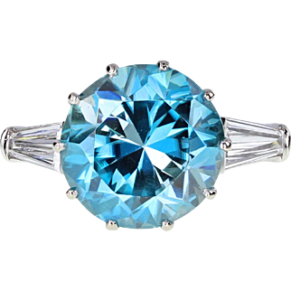 Vintage Brilliant Cut Blue Zircon Tapered Baguette Diamond Solitaire Ring
