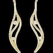 Vintage Tiffany & Co. Leaf Motif Diamond 18ct Gold Earrings by Elsa Peretti
