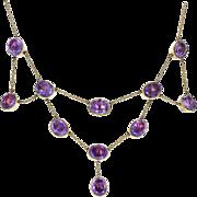 Antique Victorian Gold Amethyst Bib / Festoon Necklace