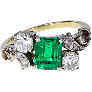 Vintage Emerald Diamond Cluster 18ct Gold Ring