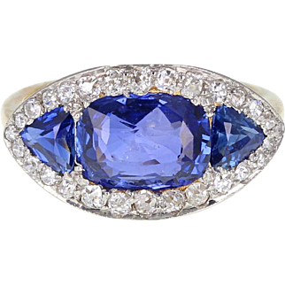 Antique Sapphire Diamond Lozenge Shaped 18ct Gold Cluster Ring