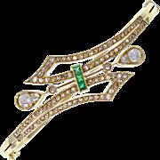Antique Victorian Emerald Diamond 18ct Gold Bangle Bracelet