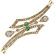 Antique Victorian Emerald Diamond 18ct Gold Bangle Bracelet