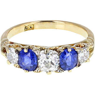 Antique Victorian Gallery Set Sapphire Diamond 18ct Gold Ring