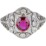 Art Deco Filigree Platinum Ruby Diamond Ring