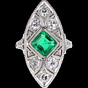Art Deco Platinum Emerald Diamond Panel Ring