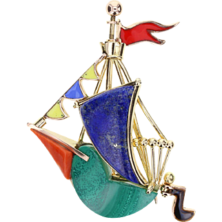 Whimsical Malachite Lapis Lazuli Coral 18ct Gold Ship Brooch by Cartier Paris