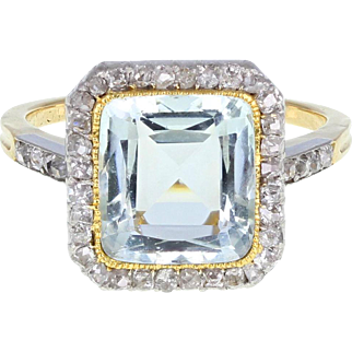 Antique Aquamarine Diamond Cluster 18ct Gold Ring