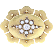 Antique Victorian 15ct Gold Diamond Pearl Brooch