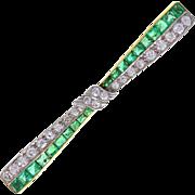 Antique Emerald Diamond Gold Bow Bar Brooch