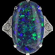 Art Deco Black Opal Diamond Platinum Ring