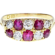 Antique Victorian Chequer-board Style Ruby Diamond Cluster 18ct Gold Ring