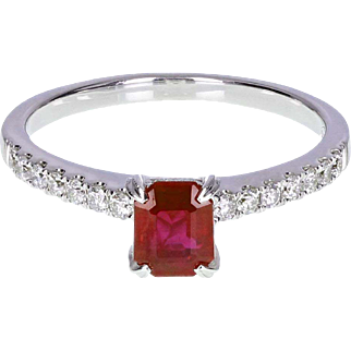 Ruby Solitaire Engagement 18ct White Gold Ring with Diamond Shoulders