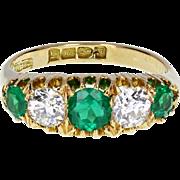 Antique Victorian Emerald Diamond Five Stone Ring