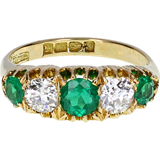 Antique Victorian Emerald Diamond Five Stone Ring