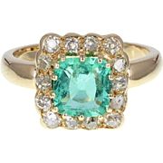 Antique Emerald and Diamond 18ct Gold Cluster Ring