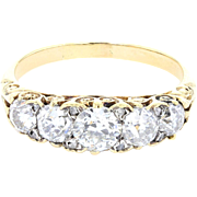 Antique Victorian Carved Gallery Set Five Stone Diamond Ring