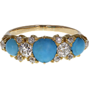 Antique Victorian Turquoise Diamond Gallery Ring