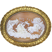 Antique Victorian 15ct Gold Greek Aurura Goddess of Dawn Cameo Brooch