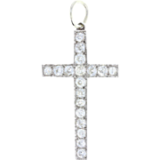 Antique Old Cut Diamond Set White Gold Cross