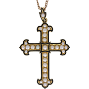 Antique Victorian Black Enamel Seed Pearl Gold Mourning Cross Pendant