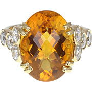 Vintage Citrine Diamond 18ct Gold Cocktail Ring