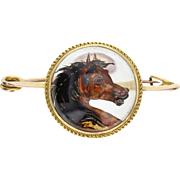 Antique Horses Head Essex Crystal Brooch