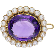 Antique Victorian Amethyst Pearl Brooch/Pendant
