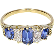Antique Victorian Sapphire Diamond Gallery Set 18ct Gold Ring